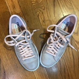Converse putty colored leather sneakers